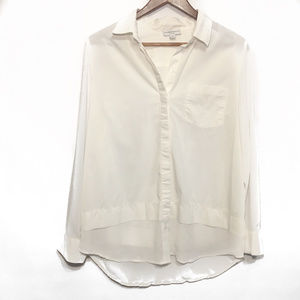 Katherine Barclay White Blouse w/ Sheer Bottom